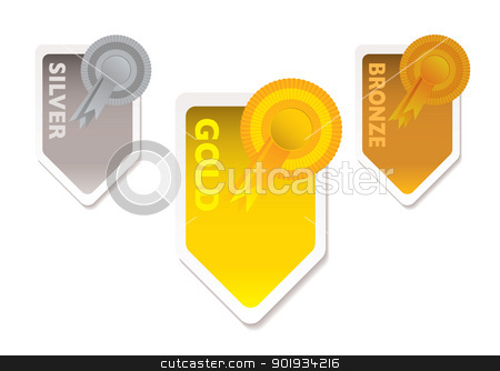 Gold silver bronze stock vector clipart, Gold silver and bronze ribbons with paper tab and shadow by Michael Travers