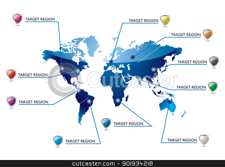 Info world map stock vector clipart, World blue map with information in key areas by Michael Travers