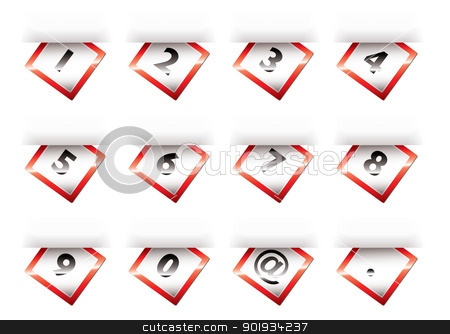 Paper tab numbers red stock vector clipart, Collection of numbers tabs on paper with shadow effect by Michael Travers