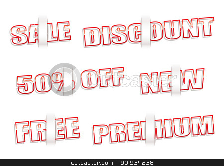 Paper tag shop notes stock vector clipart, Collection of shop sale tags with paper element by Michael Travers