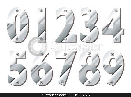 Silver numbers stock vector clipart, Collection of silver numbers with shadow and cross head screw by Michael Travers