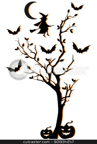 halloween tree, vector background stock vector clipart, halloween tree with witch and bats, vector background by Beata Kraus