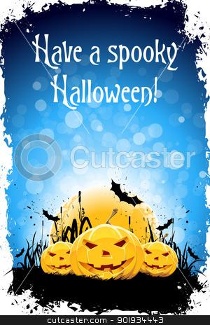 Grungy Halloween Background stock vector clipart, Grungy Halloween Background with Pumpkins, Bats and Full Moon by Vadym Nechyporenko