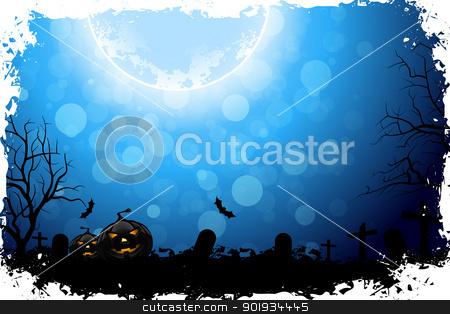 Halloween Night stock vector clipart, Grungy Halloween Background with Pumpkins, Bats and Full Moon by Vadym Nechyporenko