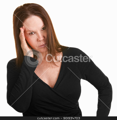 Upset Woman With Hand on Head stock photo, Unhappy European woman in black with hand on head by Scott Griessel