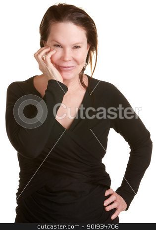 Happy Lady with Hand on Cheek stock photo, Smiling middle aged woman with hand on cheek by Scott Griessel