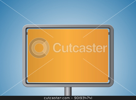 Orange metal signboard stock vector clipart, Orange metal signboard by Seyyah