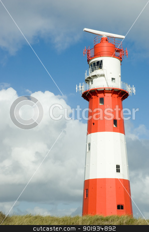 Lighthouse stock photo, Lighthouse in white in red with a radar station by Picturehunter