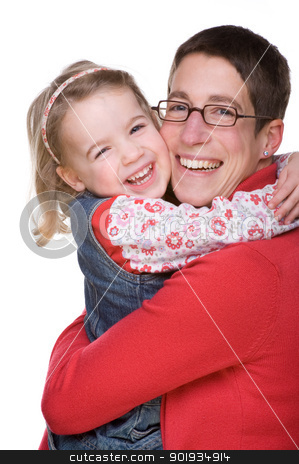 Mother with daughter stock photo, Full isolated studio picture from mother with daughter by Picturehunter