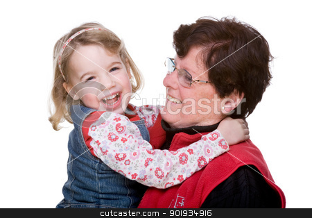 Two generations stock photo, Full isolated studio picture from grandmother with grandchild by Picturehunter