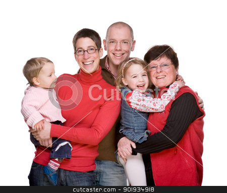 The whole family stock photo, Full isolated studio picture of a happy  caucasian family by Picturehunter