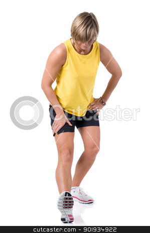 Sport time stock photo, Full isolated picture of a  caucasian woman stretching the leg by Picturehunter
