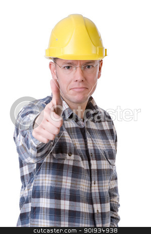 Construction worker with thumbs up stock photo, Full isolated studio picture from a young construction worker with thumbs up by Picturehunter