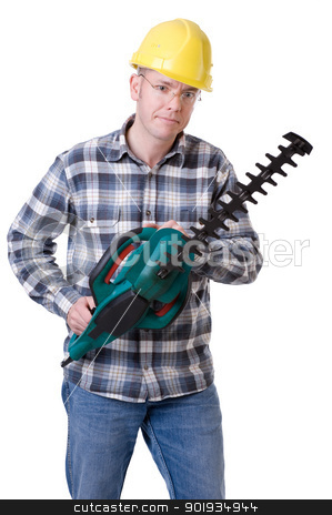 Gardener with hedge trimmer stock photo, Full isolated studio picture from a young gardener with a hedge trimmer by Picturehunter