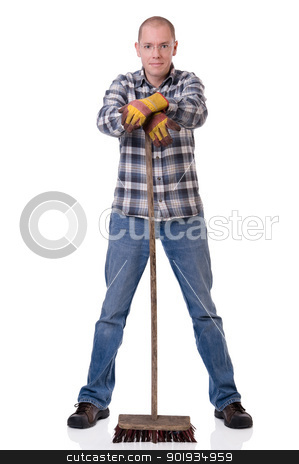 Man with broom stock photo, Full isolated studio picture from a young  worker with a broom by Picturehunter