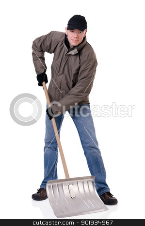 Man with snow shovel stock photo, Full isolated studio picture from a young  man with a snow shovel by Picturehunter