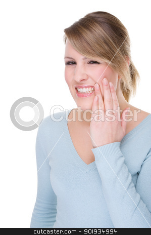 Toothache stock photo, Full isolated portrait of a caucasian woman with toothache by Picturehunter