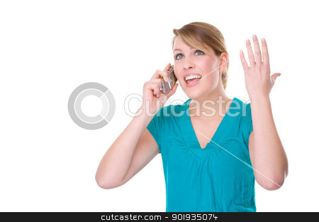 Crying at the phone stock photo, Full isolated portrait of a beautiful caucasian woman with handy by Picturehunter