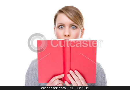Woman with book stock photo, Full isolated portrait of a   caucasian woman with a red book by Picturehunter