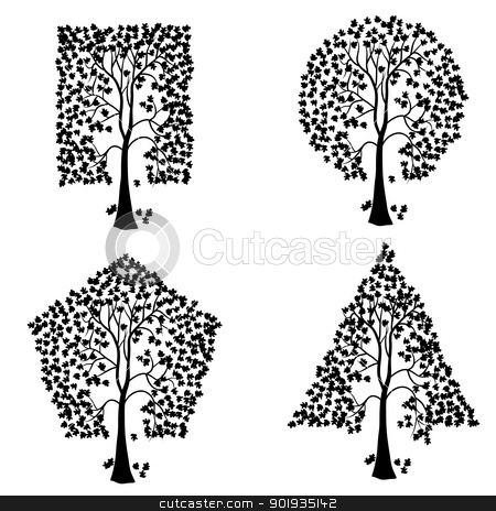 Trees of different geometric shapes.  stock photo, Trees of different geometric shapes. Vector set. by aarrows