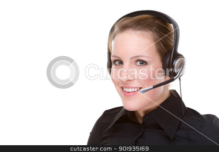 Call center agent stock photo, Full isolated portrait of a beautiful caucasian businesswoman with a headset by Picturehunter