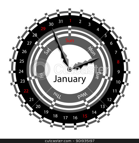 Creative idea of design of a Clock with circular calendar for 20 stock photo, Creative idea of design of a Clock with circular calendar for 2012.  Arrows indicate the day of the week and date. January by aarrows