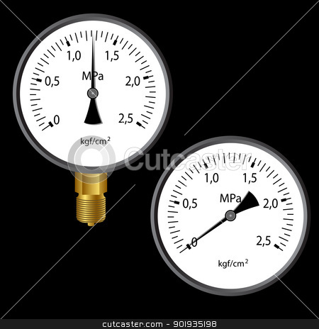 The gas manometer  stock photo, The gas manometer isolated on black background by aarrows