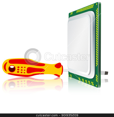 screwdriver and computer processor on a white background stock photo, screwdriver and computer processor on a white background by aarrows
