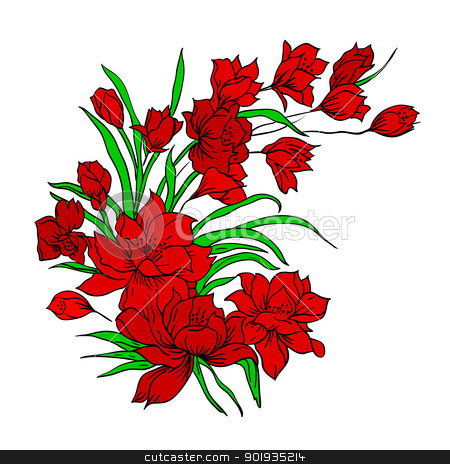 Flower bouquet, painted by hand.  stock photo, Flower bouquet, painted by hand. Vector illustration. by aarrows