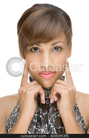 Portrait from an african model stock photo, Full isolated portrait of a beautiful brunette woman by Picturehunter