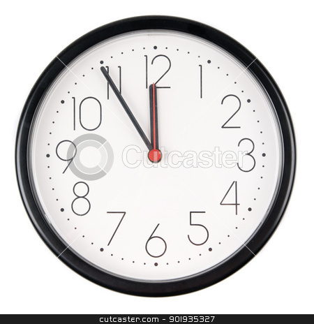 The clock stock photo, Full isolated studio picture from a clock showing five to twelve by Picturehunter