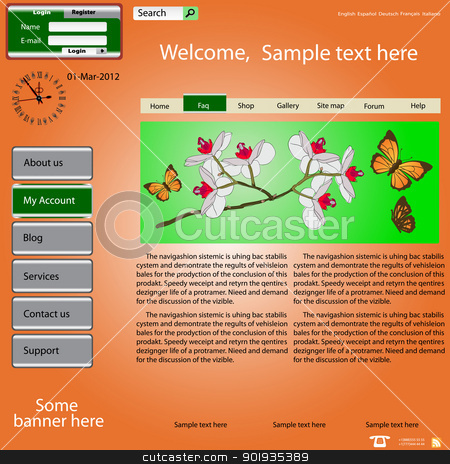 Vector template web site about  nature. stock photo, Vector template web site about  nature. by aarrows