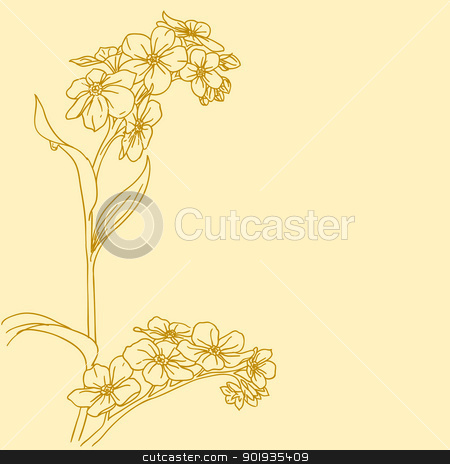 Beautiful flowers  on a white background drawn by hand stock photo, Beautiful flowers  on a white background drawn by hand by aarrows