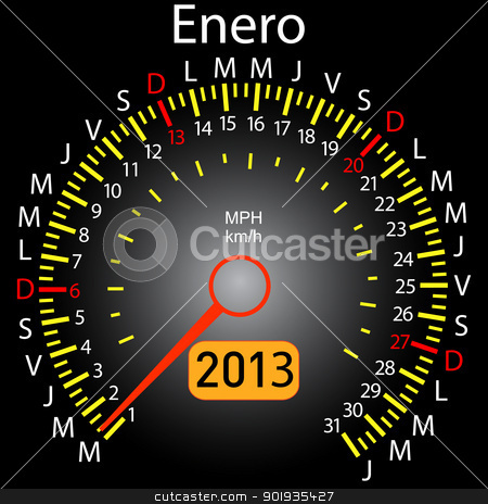 2013 year calendar speedometer car in Spanish. January stock photo, 2013 year calendar speedometer car in Spanish. January by aarrows