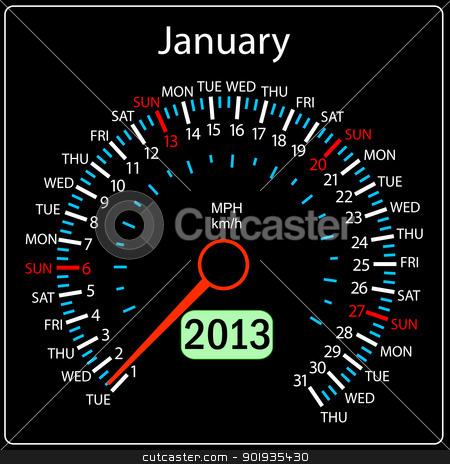 2013 year calendar speedometer car in vector. January. stock photo, 2013 year calendar speedometer car in vector. January. by aarrows