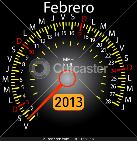 2013 year calendar speedometer car in Spanish. February stock photo, 2013 year calendar speedometer car in Spanish. February by aarrows