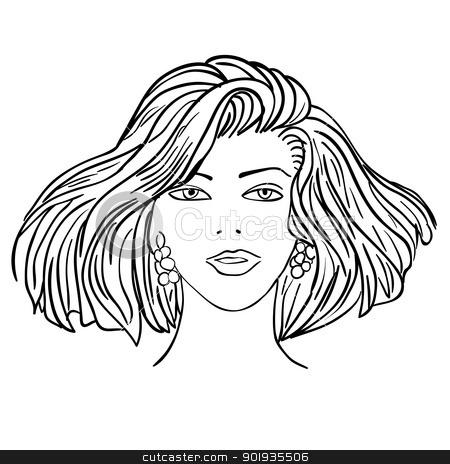 Hand-drawn fashion model. Vector illustration. Woman's face stock photo, Hand-drawn fashion model. Vector illustration. Woman's face by aarrows