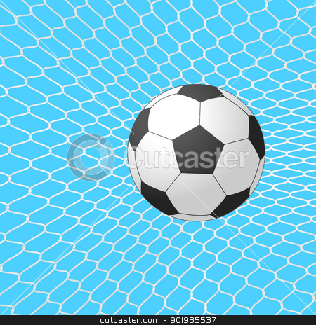 Soccer ball in goal. Vector. stock photo, Soccer ball in goal. Vector. by aarrows