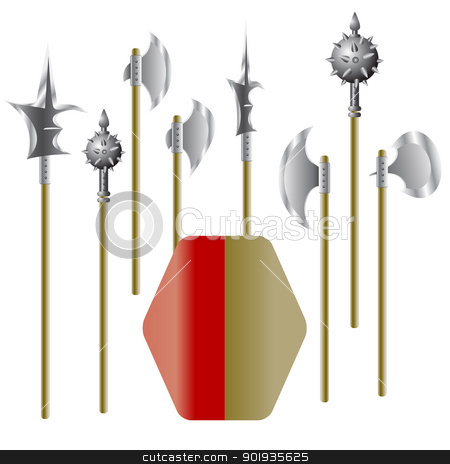 Illustration of medieval weapons and shield  stock photo, Illustration of medieval weapons and shield - vector by aarrows