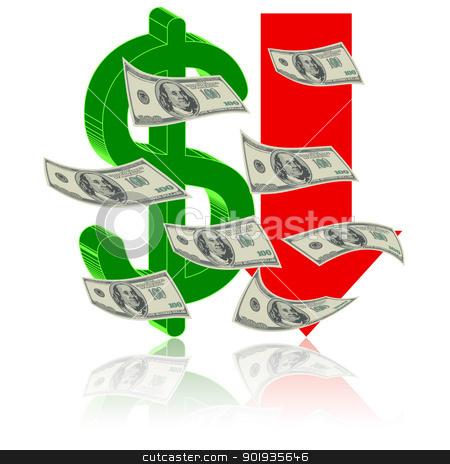 Crisis finance stock photo, Crisis finance - the dollar symbol  arrow downward - devaluation money - symbolizing the bankruptcy or devaluation of money by aarrows