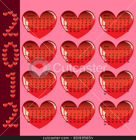 Stylish calendar with red hearts for 2012. Sundays first stock photo, Stylish calendar with red hearts for 2012. Sundays first by aarrows