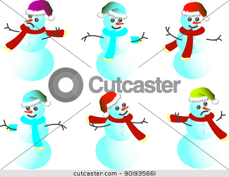 Cartoon snowman Caps for Santy - vector stock photo, Snowmen Caps for Santy and a scarf in various poses - vector by aarrows