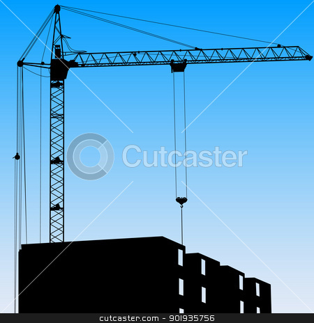 Silhouette of one cranes working on the building on a blue backg stock photo, Silhouette of one cranes working on the building on a blue background by aarrows