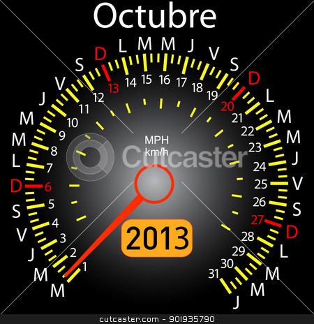 2013 year calendar speedometer car in Spanish. October stock photo, 2013 year calendar speedometer car in Spanish. October by aarrows