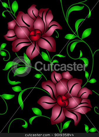 Seamless wallpaper  a seam with flower and leaves  stock photo, Seamless wallpaper  a seam with flower and leaves eps10 by aarrows