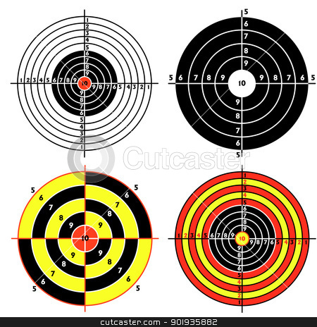 Set targets for practical pistol shooting stock photo, Set targets for practical pistol shooting, exercise.  illustration by aarrows