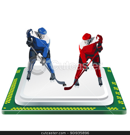 hockey player and computer processor on a white background stock photo, hockey player and computer processor on a white background by aarrows
