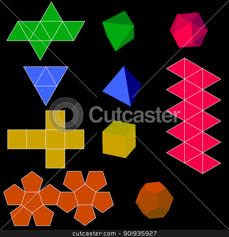 colorfull 3d  geometric shapes stock photo, colorfull 3d  geometric shapes by aarrows