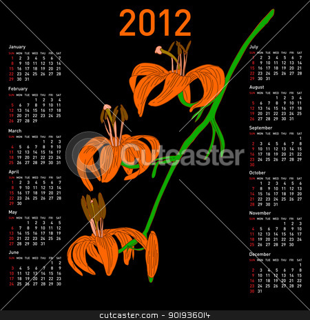 Calendar for 2012 with  flowers stock photo, Calendar for 2012 with  flowers by aarrows
