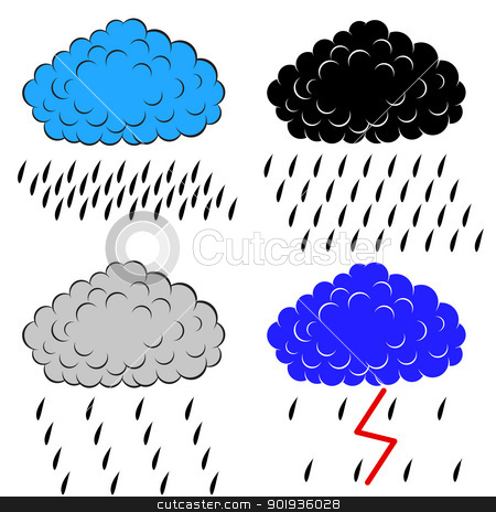 Clouds with precipitation,  illustration stock photo, Clouds with precipitation,  illustration by aarrows